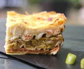 Lasagne aux poireaux et saumon